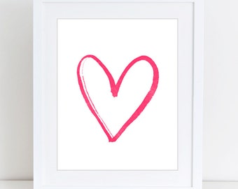 Pink heart print, Love print, Girls room, Pink, Nursery decor, Minimalism, Digital art, Printable, Digital print Instant Download 8x10,12x12