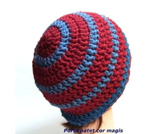 Crocheted hat in red and blue made from organic wool