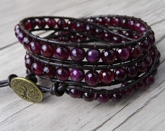 3 Rows Garnet Beads leather Wrap Bracelet Triple Wrapped Red Gemstones Beaded bracelet Chic Boho Jewelry January birthstone gift  SL-0100