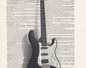 Electric Guitar Print Vintage Dictionary Art Print Black and White Laser Ink Printed on Vintage Dictionary Pages One of a Kind