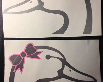 Duck Head Sticker with Bow and/or Visor