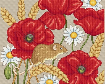 harvest mouse and poppies