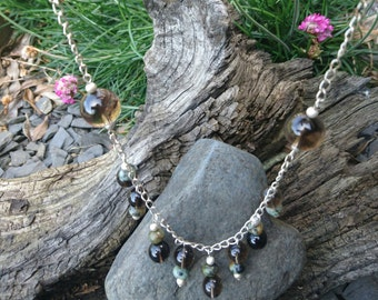 Stunning Smokey Quartz and African Turquoise dangle boho necklace