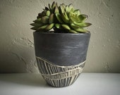 Ceramic handthrown planter, succulent planter, organic lines, river current design, black & white.
