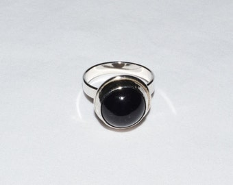 Deep Dark, High Dome Amethyst and 925 Silver Ring