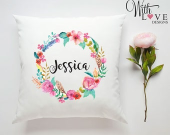 Floral Flower Wreath Any Name Initial Letter Personalised Custom Made Pillow Cushion Photo Birthday Gift Present Customised