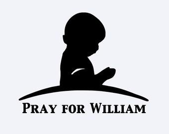 St. Judes, praying, child, prayer, decal, monogrammed, vinyl, hospital decal