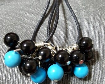 Handmade leather cord and bead earrings