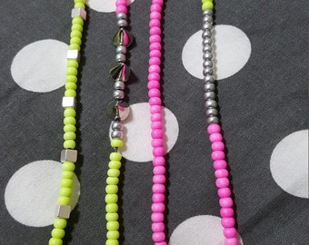 Handmade neon seed bead bracelet collection