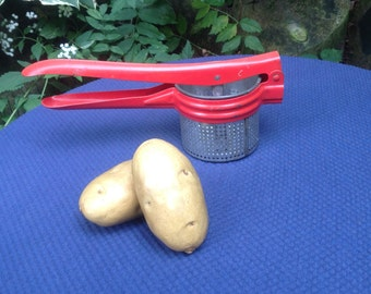 1950's Kitchen Decor Red Antique Potato Ricer