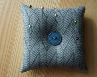 square pincushion turquoise blue pin cushion with ground walnut shells