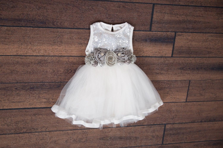 White Tulle Silver Sequin Dress Miniature Bride Dress Silver
