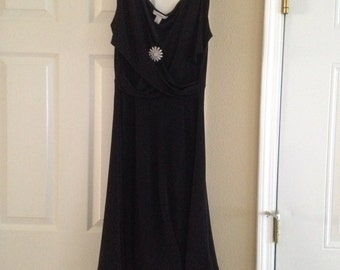 Dressbarn Small Ruffled Black Dress with Removeable Silver Flower Brooch