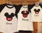 Mickey Mouse or Minnie Mouse Disney Inspired Vacation Raglan Shirt Personalized Custom