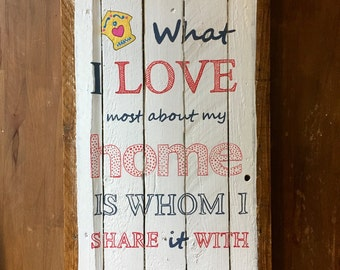 Home sweet home - decorative wood - painting on wood - panel vintage panel - wall plate