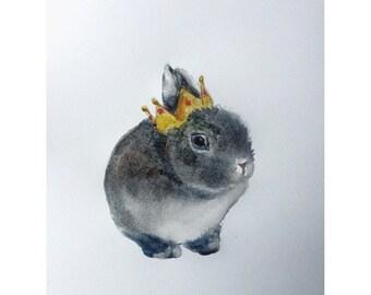 King Bunny Series Original Watercolor Painting