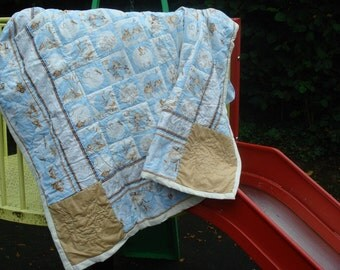 Baby Quilt, Handquilted, Pale Blue & Tan