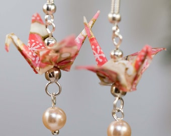 Origami Crane / Cherry Blossom Earrings/ Handmade Earrings/ Japanese Paper/ Origami Earrings/ Flower Earrings/ Yuzen/ Chiyogami