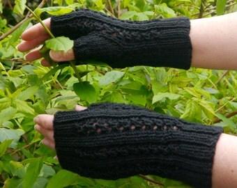 Black Fingerless Mittens