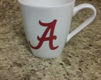 Alabama 14 oz. coffee cup, Alabama A, roll tide cup, University of Alabama coffee cup