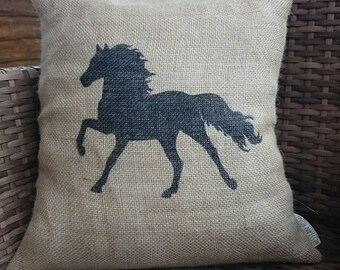 Hessian horse pony cushion cover jute burlap