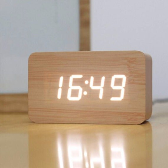 Alarm clock in natural wood digital white figures by ...