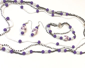 Triple purple porcelain necklace set