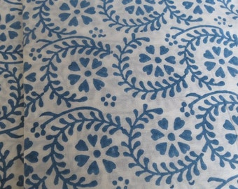 White And Blue Floral Block Print Fabric