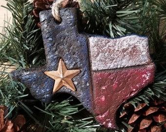 Texas Christmas Ornament, Texas Flag Christmas Ornament, Texas Shaped Ornament, Texas Flag Ornament, Christmas Ornament, Rustic Texas Flag