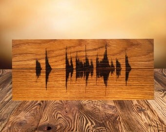 Soundwave Wall Art Custom Wood Burned Art Personalized Wooden Art Engraved, Rustic Custom Sign Birthday Gift, Gift for Him Gift for Her