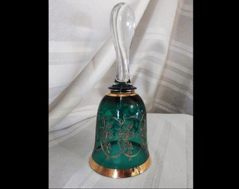Bohemia Crystal Green with Gold Trim Bell