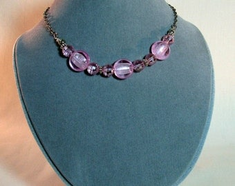 Pink Lampwork, Pink Crystal and Silver Choker