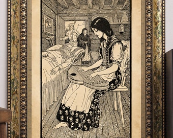 "C.F. Arcier 1915 ""Beautiful Susan Playing the Zither"" Antique Children's Fairy-Tale Story-Book Art Print"