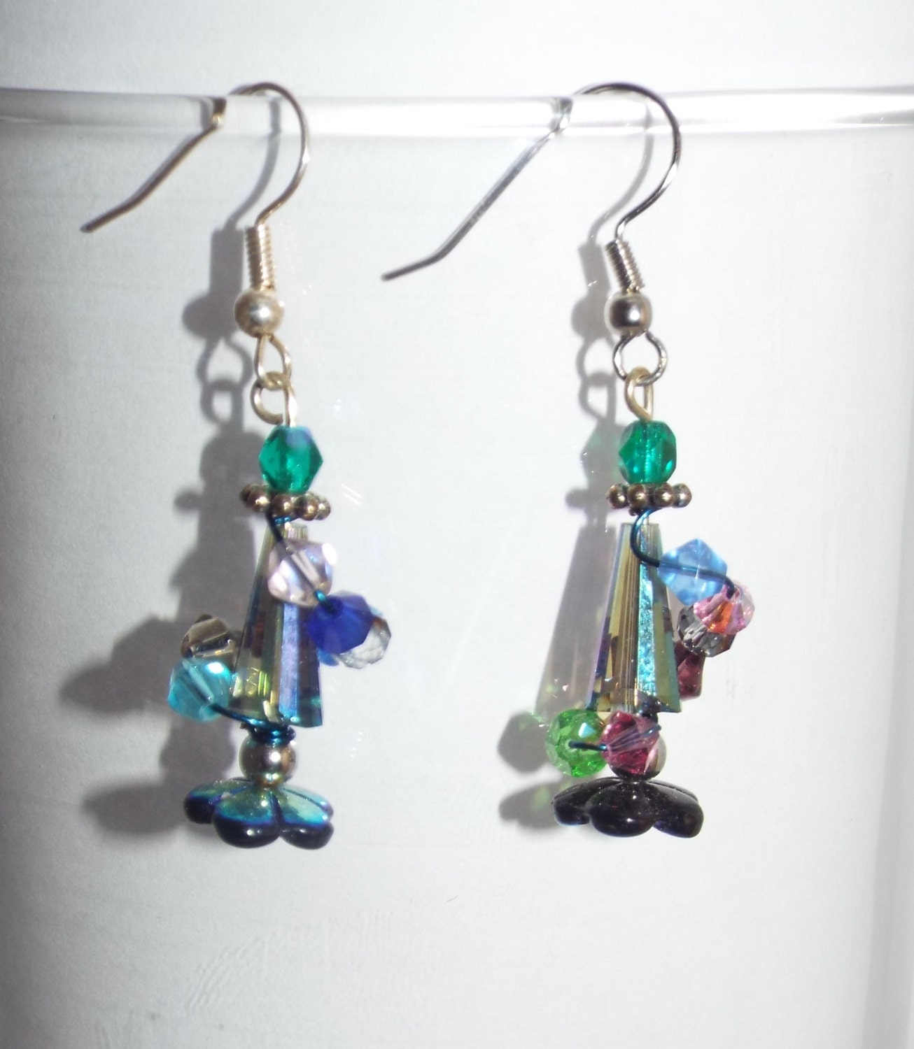 Decorate Christmas Tree With Beads: Handmade Decorated Christmas Tree Earrings With Beads Wrap