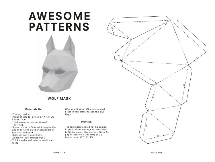 make your own wolf mask animal mask printable by