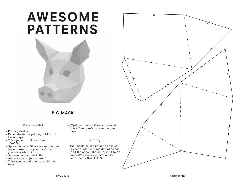 pig mask diy printable animal head instant pdf by
