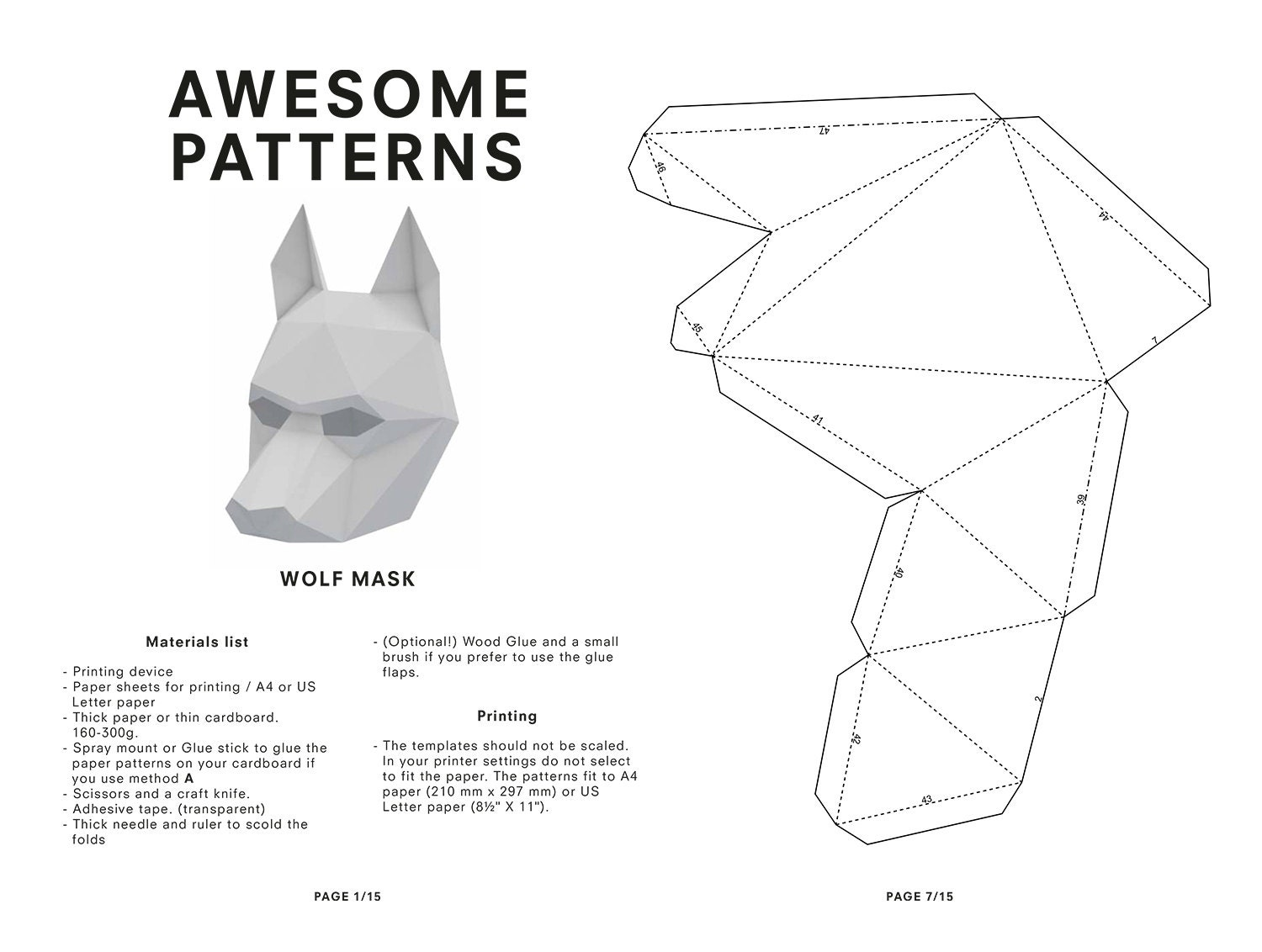 make your own wolf mask animal mask printable by awesomepatterns