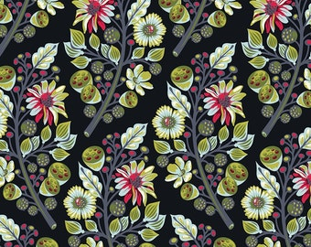 BTY Tula Pink Moon Shine Sprout Midnight Black Free Spirit Quilting Cotton Flowers