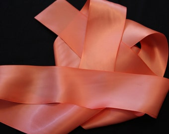 Coral Satin Ribbon/Coral Ribbon/Coral Bridal Sash/Flower Girl Sash/Coral Bridal Belt/Country Bridal Belt/Coral Flower Girl Belt/Coral Sash