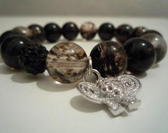 Bracelet quartz agate black Moss