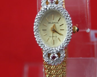 Vintage Helbros Watch with Rubies and Diamonds