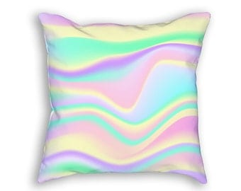 Holographic Pattern Fun Throw Pillow, Funky & Colorful Decorative Throw Pillow, Multicolor Retro Holography Accent Pillow