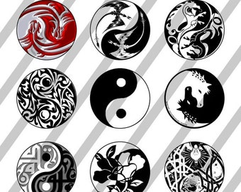 Yin Yang digital collage sheet 4x6 for bottlecaps - 1 inch - INSTANT DOWNLOAD