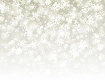 Christmas Backdrop - white Snowflake, snow, winter bokeh - Printed Fabric Photography Background G0293