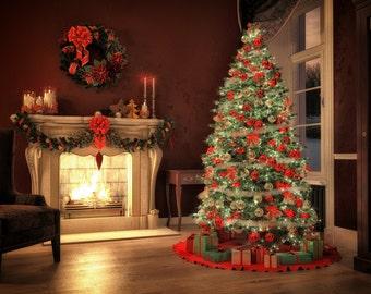 Christmas Backdrop - tree, gift box, sock, furnace, night - Printed Fabric Photography Background G0303