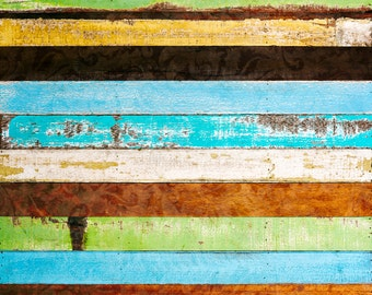 Distressed Colorful Wood Backdrop - peeled vintage plank, wooden floor - Printed Fabric Photography Background - G0218
