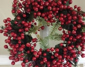 Red berry candle ring small berry wreath French door wreaths small spot wreaths natural Christmas decor natural Christmas candle rings berry