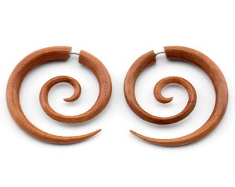 Saba Wooden Large Spiral Organic Fake Gauges