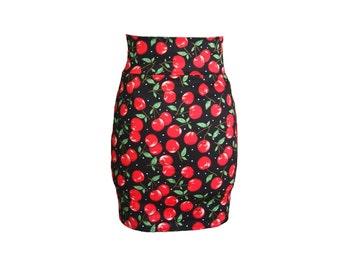 Cherry high waisted pencil Skirt, rockabilly, retro, pin-up skirt