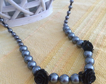 Long necklace, beads, gray, black roses, pearls